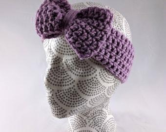 Girls Bow Earwarmer, Lilac Bow Earwarmer, Big Bow Headband, Children's Crocheted Headband