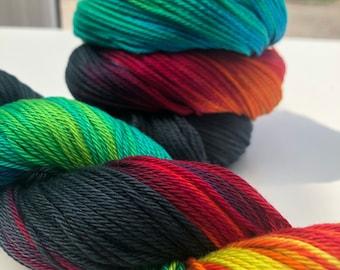100% Pima Cotton DK Double Knit Hand Dyed Yarn Vegan Natural Black Stormy Rainbow