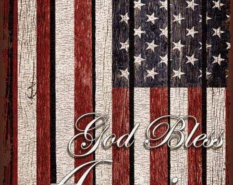 God Bless America Flag Metal Sign, USA, Rustic, Patriotic    TFD1003