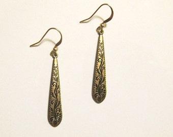Gold Victorian Drop Dangle Earrings