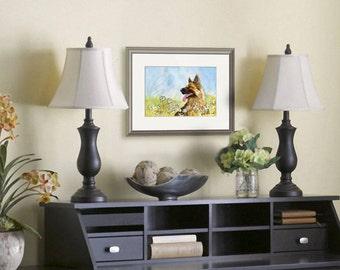 Original german shepherd watercolor | animal art | dogs | rin tin tin | wall decor | watercolor animals | daisies | dog lovers