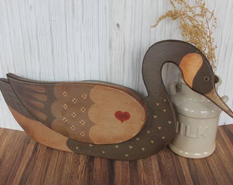 Vintage Wooden Goose Figure Fall Decor Hangpainted Wood Goose 1983 Country Folk Art Americana
