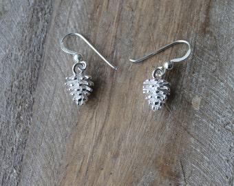 Pine cones sterling silver earrings