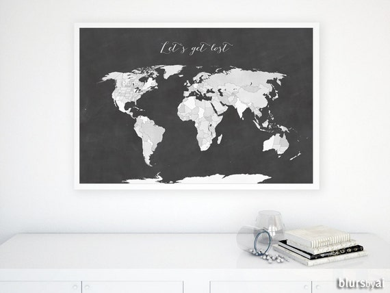 36x24 printable world map with us states black white world 36x24 printable world map with us states black white world map chalkboard map diy travel pinboard map gift for him map137 012 gumiabroncs Gallery