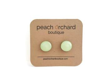 Hand Drawn Fresh Mint Stud earrings- Bridesmaid Jewelry- Bridesmaid Gifts- Mint earrings