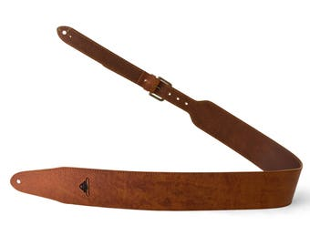 """TAVY - Handmade Leather Guitar Strap [3"""" wide]"""