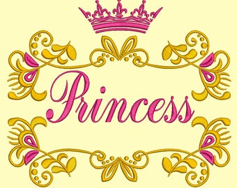Princess ornament and crown machine embroidery design