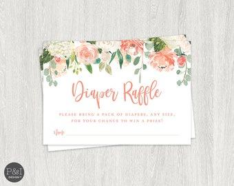 Diaper Raffle Baby Shower | Watercolor Flowers | Instant Download
