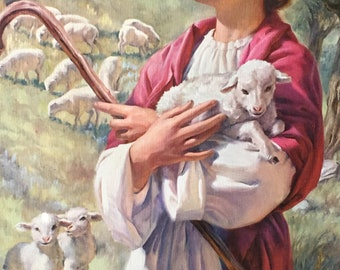 Vintage Religious Shepherd Boy With Sheep