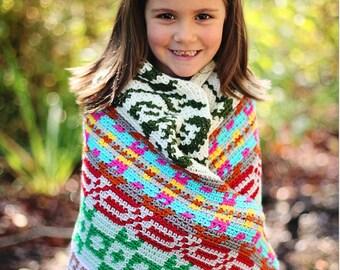 Instant PDF Download, Color Riot Blanket, Crochet Pattern