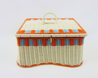 Vintage Sewing Box Craft Basket or Jewelry Treasure Box