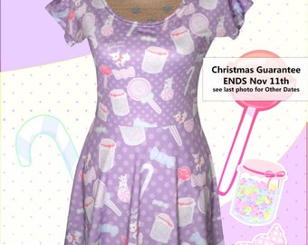 Candy Dress Sweets Fairy Kei Cap Sleeve Dress Printed Dress Pastel Konpeito Kawaii Pastel Goth XS-5XL *Made 2 Order*