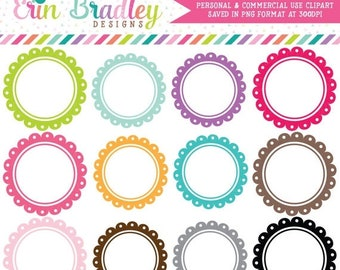 80% OFF SALE Scalloped Circle Frames Clipart Instant Download Commercial Use Clip Art Graphics