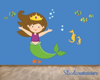 REUSABLE Mermaid Wall Decal -  Childrens Wall Decal