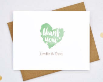 Wedding Thank You Cards - Personalized Couple Note Cards - Heart Thank You Cards - Customized Newlywed Stationery - PC02