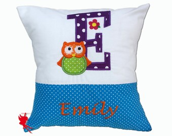 Monogram Owl pillow Owl Cushion Cuddly Cushion with name