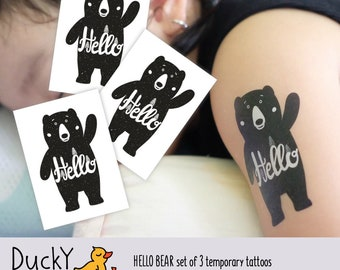 Set of 3 temporary tattoos Hello bear. Hip style black ink kids tattoos with wood grizzly bear. Woodland party supply, bear party favors.