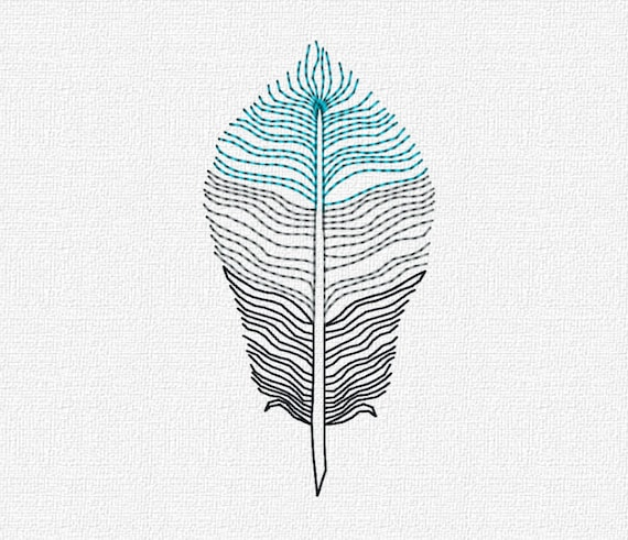 Feather Machine Embroidery Pattern Design Download 4x4 5x7 Modern