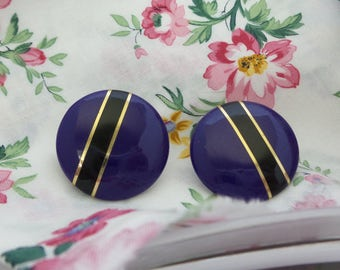 Large Purple Button Earrings