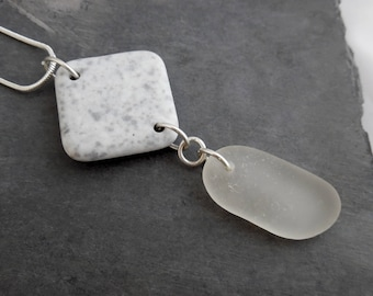 Gray Sea Glass Necklace Pottery Shard Beach Jewelry Seaglass Pendant