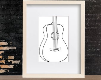 Modern Wall Art Drawing - Minimalist Art - Prints - Guitar Line Drawing
