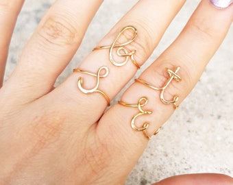 Lowercase 22k Gold Initial Ring, Personalized Gifts, Personalized Initial Ring, Gold Name Ring, Rose Gold Initial, Silver Initial Ring Di&Di