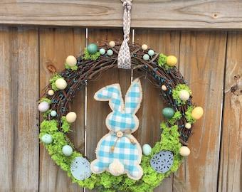Gingham Bunny Wreath; Easter Wreath; Spring Wreath; Bunny Egg Wreath;