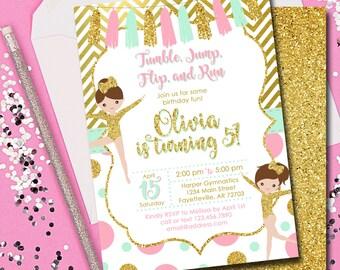 Gymnastics Birthday Invitation, Gymnastics, Pink and Gold, Birthday Invitation, Invitation, Birthday, Mint, Printable 5x7