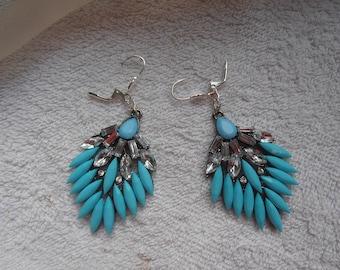 BOUCLES D'OREILLES pendantes géométriques avec zircons bleus magnifique bijou unique pour femme