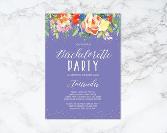 Printable Watercolor Floral with Gold Confetti Bachelorette Party Invitation