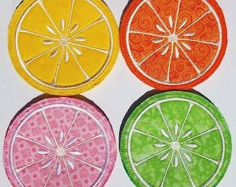 Citrus Embroidered coaster set of 4