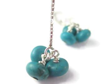 Turquoise Cluster Earrings with Long Sterling Silver Ear Threaders Blue Gemstone Dangle Earrings December Birthstone