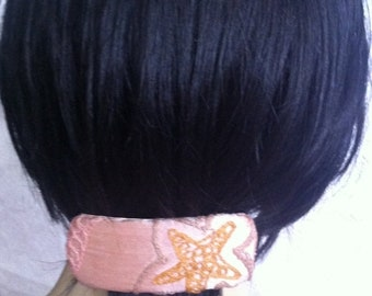 CLEARANCE - Peach barrette, silk barrette, embroidered barrette, floral fabric barrette, fabric barrette, hair accessory, fashion accessory