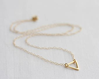 Gold triangle necklace - small open triangle on delicate cable chain, geometric necklace, minimalist necklace, 14k gold filled, gift for her