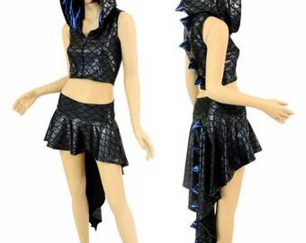 2PC Black Dragon Zipper Front Sleeveless Crop Hoodie / Blue Lightning Hood Liner & Spikes / Matching Dragon Tail Skirt - 155010
