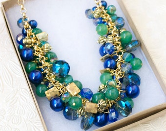 The Aglae Blue Green Statement Necklace, Cluster Necklace, Chunky Bib Necklace, Beaded Necklace, Blue Necklace, Bulky Jewelry, Gold Necklace