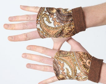 Brown fingerless Gloves, Vintage brown and white paisley print, brown and white gauntlets, Steampunk gloves, Womens accessories, MALAM