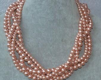 peach pearl necklace, fiver strand peach pearl bead necklaces, peach bead necklace,twisted pearl necklace, peach glass pearl necklace