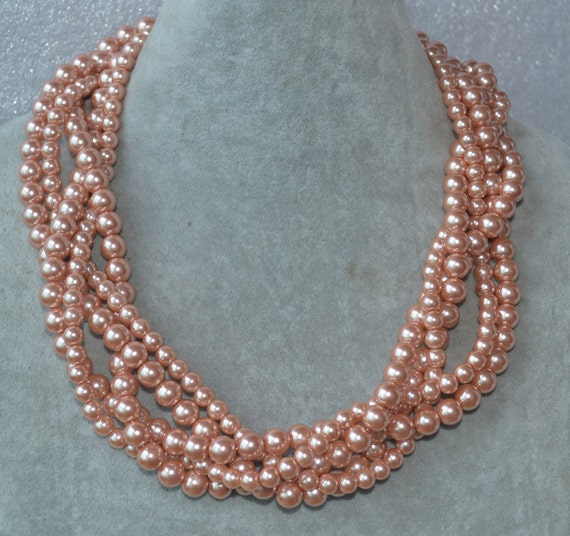 Peach Pearl Necklace: Peach Pearl Necklace Fiver Strand Peach Pearl Bead Necklaces