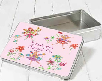 Personalised Fairy Dance Tin, Children's Gifts,Personalised Keepsak Gifts, Kids Birthday Gifts
