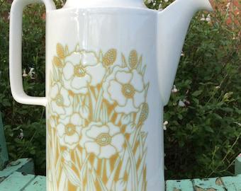 Hornsea Pottery Fleur Design Tall Lidded Coffee Pot 1970s Farmhouse Chic. Afternoon Tea