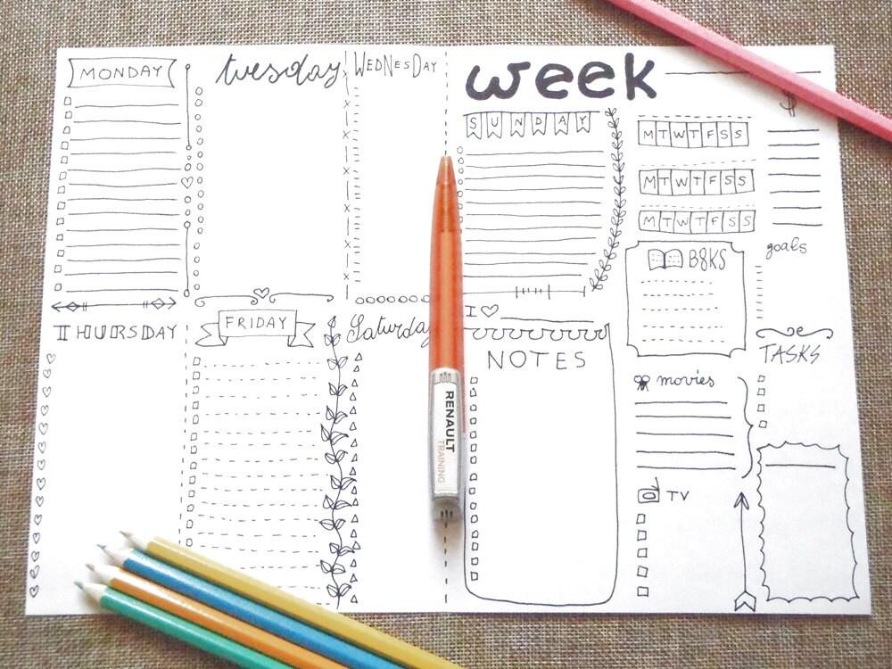 Eccezionale diario settimana da stampare planner pdf settimanale giornale RT37