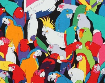 219515 black with colorful red green parrot bird fabric Alexander Henry USA