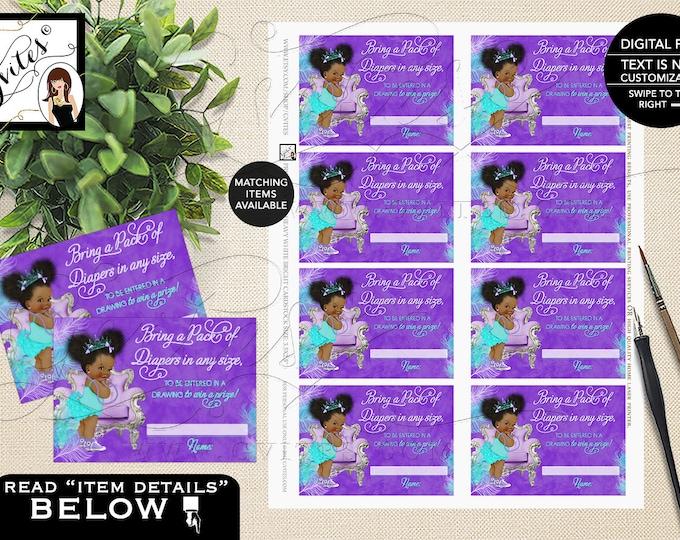 "Diaper Raffle Purple Lavender Aqua Turquoise, Princess Baby Shower, African American Afro Puffs Vintage Baby Girl,"" 3.5x2.5"" 8/Sheet. Gvites"