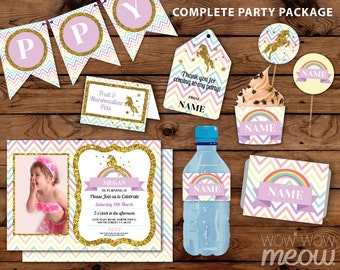 Rainbow Unicorn Party Package Photo Invitation Birthday Gold Glitter Tag Cards Decoration Printable Collection DOWNLOAD Editable Personalize