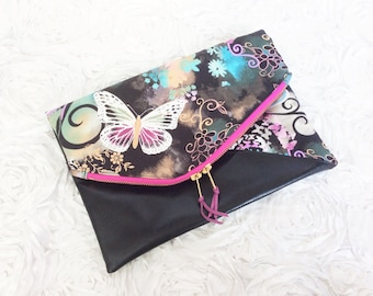 Majestic Butterfly Fold over Clutch Ready to Ship