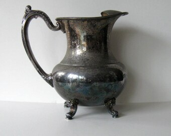 Vintage Oneida Silverplate Water Pitcher with Ice Lip Strainer, Footed, Serving, Wedding