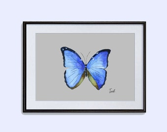 Blue Morpho butterfly printable poster art print butterfly instant download watercolor painting  butterfly wall decor ideas in two size
