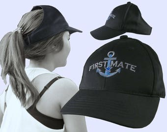 First Mate Nautical Boating Blue Star Anchor Embroidery on an Adjustable Black Structured Ponytail Hairdo Women Open Fashion Baseball Cap