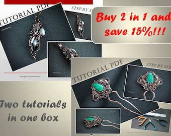 2 in 1 Tutorials wire wrapped hair pin and sheet copper pendant PDF, wire wrap tutorial, tutorial wire wrap jewelry, wire tutorial